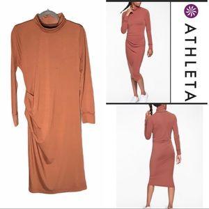 ATHLETA Industry Turtleneck Dress. Havana Brown